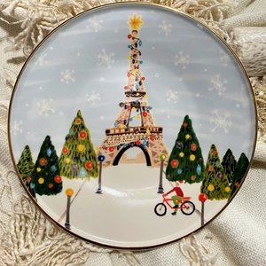 ANTHROPOLOGIE Christmas Time Paris Dessert Plate